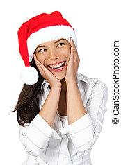 kvinna, jul, snopen