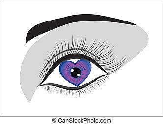 kvinna, kärlek, heart., valentinbrev, bakgrund., ögon, dag