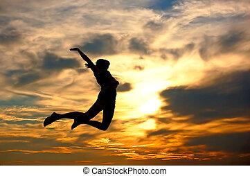 kvinna, kärlek, henne, visande, world!, lycka