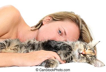 kvinna, katt