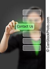 kvinna, keyword., affär, knapp, oss, hand, rörande, kontakta