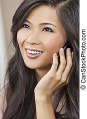 kvinna, kinesisk, talande, mobiltelefon, asiatisk flicka