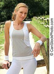 kvinna, kläder,  fitness