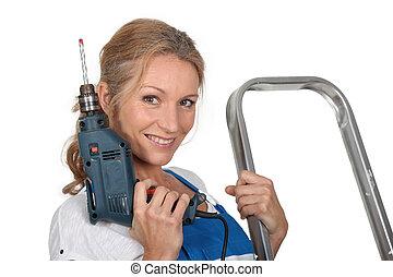 kvinna, klar, med, drill