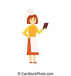 kvinna, kock, in, förkläde, tittande, recepy, på, smartphone, person, existens, direkt, alla, den, tid, besatt, med, grej