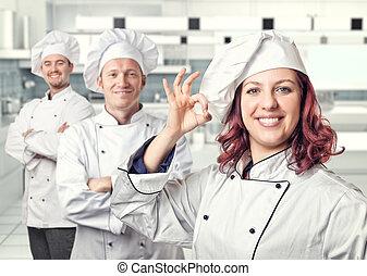 kvinna, kock