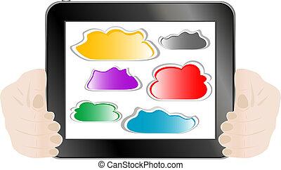 kvinna, kompress, abstrakt, hand, pc, holdingen, moln