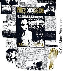 kvinna, konst, affisch, pop, design, tidning