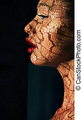 kvinna, konst, solljus, makeup., skapande, asiat, stående, ...