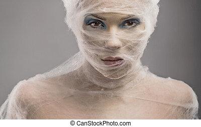 kvinna, konst, ung, bandage, stående, fin