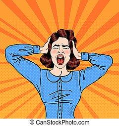 kvinna, konst, vecto, skrika, ilsket, pop, holdingen, head., frustrerat