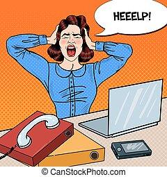 kvinna, konst, work., kontor, skrika, ilsket, pop, vektor, frustrerat