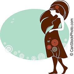 kvinna, kort, design, gravid, silhuett