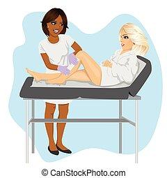 kvinna, kosmetolog, vaxa, säng, ung, amerikan, afrikansk, ...