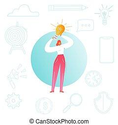 kvinna, kvinnlig, affär, lätt, concept., start, illustration, skapande, nyskapande, idé, vektor, brainstorming, ledarskap, project., bulb., tecken