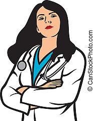 kvinna läkare