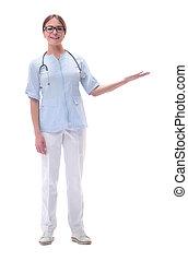 kvinna läkare, isolerat, space., se, vit, avskrift, vänskapsmatch