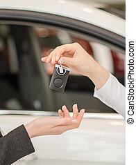 kvinna lämna, fik, nymodig, bil facit, på, a, bil, bakgrund