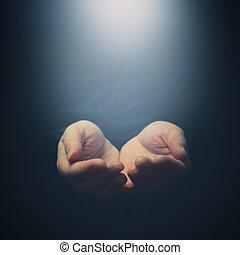 kvinna lämnar, öppning, till, light., holdingen, ge sig, visande, begrepp