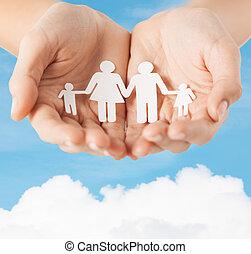 kvinna lämnar, med, papper, man, familj
