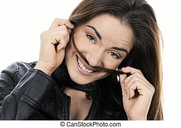 kvinna, länge, le, hår
