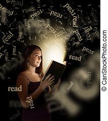 kvinna läsning
