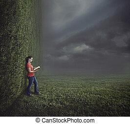 kvinna läsning, på, surrealistisk, landskap.