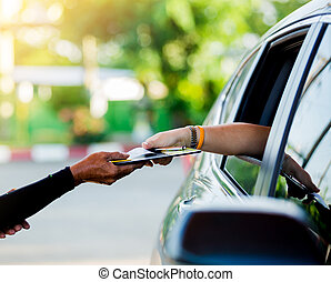 kvinna, lön, fokusera, kreditera, selektiv, personal, kort, fuel.