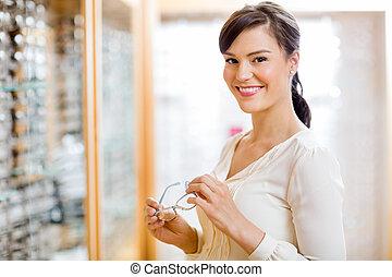 kvinna, lager, optiker, uppköp, glasögon