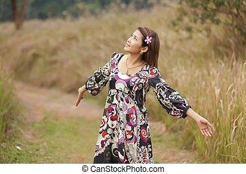 kvinna, lever in, natur