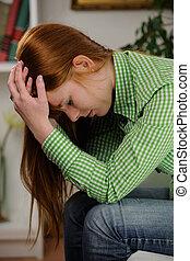 kvinna, lidande, från, fördjupning, oder, huvudvärk