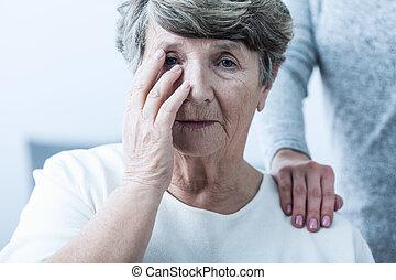 kvinna, lidande, från, senilitet