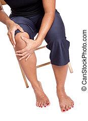 kvinna, lidande, från, smärta, på, knä