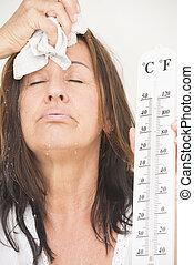kvinna, lidande, från, värma, och, svett