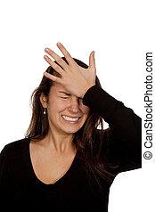 kvinna, lidande, huvudvärk