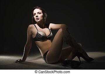 kvinna, lingerie.