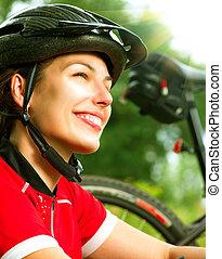 kvinna, Livsstil, hälsosam, ung, ridande, utanför, cykel