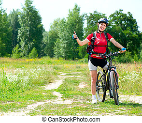 kvinna, livsstil, hälsosam, ung, ridande, utsida., cykel, lycklig