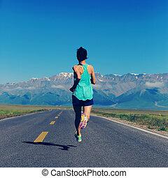 kvinna, livsstil, hälsosam, ung, gångmatta, spring, fitness...