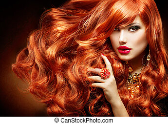 kvinna, lockig, länge, mode, hair., stående, röd