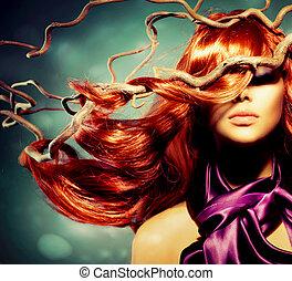 kvinna, lockig, långt hår, mode, stående, modell, röd