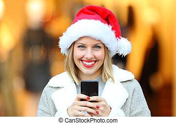 kvinna, lov, ringa, gata, holdingen, jul