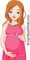 kvinna, lycklig, förberedd, b, gravid