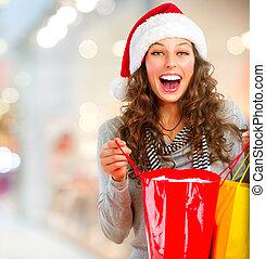 kvinna, lycklig, hänger lös, mall., shopping., jul, ...