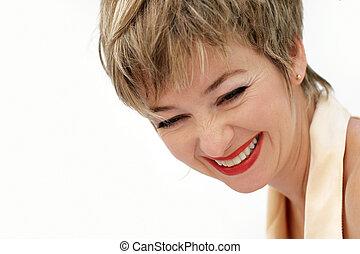 kvinna, lycklig