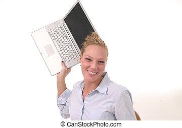 kvinna, lyror, laptop
