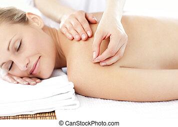 kvinna, lysande, behandling, akupunktur, mottagande,...