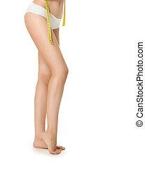 kvinna, mätning, perfekt, form