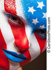 kvinna, målad, face., uppe, ansikte, påstår, enigt, nära, amerika