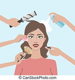 kvinna, make-up.